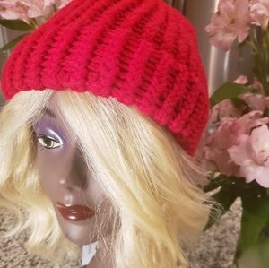 Red crimson crochet childrens/kids winter hat